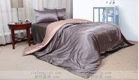 Wholesale bedspread grey king size beds online - Luxury silver grey beige silk bedding set queen king size duvet quilt cover bedspread bed in a bag sheets bedroom linen bedsheet