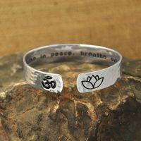 Wholesale Unique Yoga - Custom Cuff Bracelet, Secret Message Bracelet, Yoga Jewelry,Lotus Flower, OM,inspiration Engraved Name,hand stamped unique gift