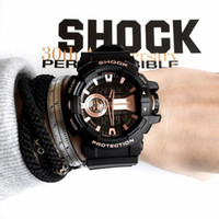 Wholesale Dropshipping Sport Watches - Factory Autolight Water resistant ga400 sports watches LED g 400 multifunction Time Zones Shock Watch Original Box DropShipping