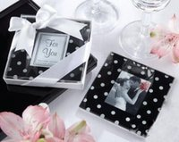 Wholesale Cupping Points - 2piece set Square Black And White Wave Point Frame Glass Cup Mat Fashion Home Gifts Wedding Cup Coaster Drink Placemat