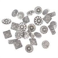 Wholesale Antique Shank Buttons - 50PCs Mixed Antique Silver Tone Metal Buttons Scrapbooking Shank Buttons Handmade Sewing Accessories Crafts DIY Supplies