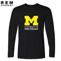 Wholesale University T Shirt Xl - 2017 new Michigan University American college baseball s jersey clothing t shirt top man Long sleeve t shirt
