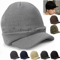 Wholesale Cadet Hats Wholesale - Fashion Army style winter warm Beanie wool peas caps crochet Knit Hat Ladies Cadet Ski Cap For Men Women M514-B