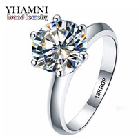 Diamant Blanc Pas Cher-YHAMNI Real Pure White Gold Ring 18KRGP Stamp Rings Set 3 Carat CZ Diamond Wedding Rings For Women RING R1688