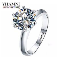 anéis de casamento ouro branco puro venda por atacado-YHAMNI Verdadeiro Anel de Ouro Branco Puro 18KRGP Selo Anéis Set 3 Quilates CZ Anéis De Casamento Do Diamante Para As Mulheres ANEL R1688