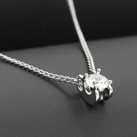 Wholesale Simple Gold Necklace For Wedding - Luxury Single AAA Zircons Pendant Necklace Simple Silver Gold-Tone Diamond Clavicle Necklace Fashion Jewelry Forever Love For Women Wedding