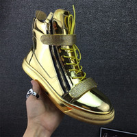 Top Marque Designer Zapatos Hombre Round Toe Hommes Hip Hop Sneakers Gold Chaussures Hommes Chaussures Casual High Top Sneakers