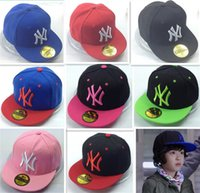 Wholesale Ny Children - HOT 9 Color children Baseball MLB Cap NY Embroidery Letter Adjustable Snapback Hip Hop Dance Hats kids Outdoor Cap hat JC215