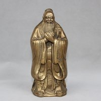 Wholesale Famous Folk Art - Chinese Brass Famous Thinker Politician Confucius KongZi Hold Sword Stand Statue home decoration