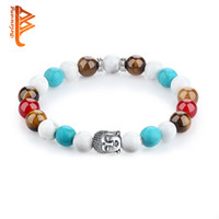 Wholesale Turquoise Buddha Beads - BELAWANG Wholesale Mix Style Colorful Silver Plated Buddha Beads Bracelets Turquoise&Pearl Rope Chain Beaded Strands Bracelets Jewelry Gift