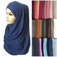 Wholesale Crepe Shawl Scarf - Wholesale- Women Maxi Bubble Crepe Crinkled Frayed Hijab Scarf Shawl Muslim Islamic Head Wrap Plain Solid Colors
