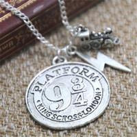 Wholesale American Platform - 12pcs lot HP Hogwarts Express Charm Necklace Platform 9 3 4 Necklace Fantasy Wizard Charm Necklace