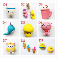 Wholesale toys cat phone - Hot sell Squishy Toy Tooth Lovely bear KT-cat cup squishies Slow Rising Soft Squeeze Cute Cell Phone Strap gift Stress for children toy