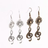 12pcs / lot Metal Alloy Zinc Flower Connector Music Note Pendentif Charm Drop Earing Diy Jewelry Making C0769
