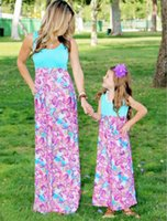 Wholesale Casual Family Dress For Mother Daughter Sleeveless Print Long Dress Maxi Dress New Arrival F186