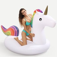 Wholesale Kids Ride Toys Wholesale - 190cm Inflatable Floats Inflatable Unicorn Ride-On pool toys for kids and adults Unicorn inflatable float Swimming Ring Water Raft