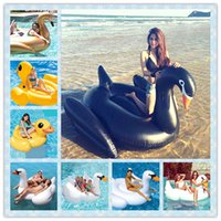 Gonflable Giant Black Swan 200cm / 150cm 78inch / 58inch Duck Adulte Bague de natation Pool Float White Swan Flamingo Unicorn Water Pool Party Jouets