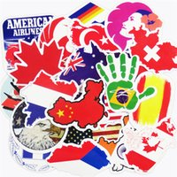 Wholesale Laptop Logo Stickers - 50 Pcs National Flags & Map Airline Logo Travel Luggage Car Stickers For Skateboard Bike Laptop Car Styling DIY Decals Waterproof Sticker