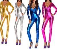Wholesale Blue V Neck Jumpsuit - Silver Gold Blue Pink Sexy Women Exotic Deep V Neck Catsuit Jumpsuit Long Sleeve Zipper Bodysuit Nightclub Dancer Costumes Pole Dancing