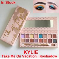 Wholesale Shimmer Brush - Kylie Eyeshadow take Me On Vacation Palette 16 Color Kylie Jenners Kyshadow pressed powder Eyeshadow palette with brush Cosmetics Eye shadow
