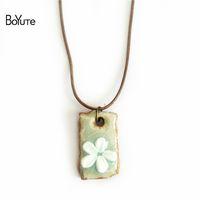 blumen halskette keramik großhandel-BoYuTe Wholesale 5Pcs Diy Seil-Kette kneten keramische Blumen-hängende Halsketten-Schmuck-Luftblasen-Tasche für Schutz