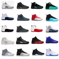 Wholesale Retro 12 Taxi Size 13 - air retro 12 man basketball shoes ovo white flu game wool gym cherry red GS Barons french blue TAXI sneakers us size 8-13