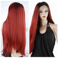 Wholesale Sexy Front Lace Wig - ePacket free shipping Women Sexy Heat Resistant Straight Black Root Red Hair Synthetic Lace Front Wigs