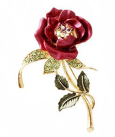 Wholesale Jewelry Brooches Womens Belle Red White Purple Violet Rose Flower Enamel Crystal Rhinestone Brooch Pin Golden Tone