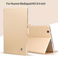 flip cover schlaf großhandel-Großhandel-Silikon + PU Ledertasche für Huawei MediaPad M3 BTV-W09 BTV-DL09 8,4-Zoll-Smart-Schlaf-Fall-Abdeckung Tablet Flip Shell Funda Capa
