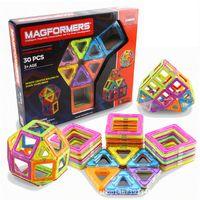 Wholesale Square Blocks Toy - Free Shipping 30pcs Magformers Rainbow Magnetic Building Blocks Children Educational Toys 12 PCS Triangle 18 PCS Square 1118