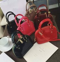 Wholesale Multicolor Evening Bags - Wholesale lady luxury genuine cow leather shinny patent leather date code multicolor shell bag purse evening bag colourfull women classic