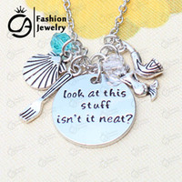 Wholesale Gold Seashell Charms - jewelry wholesale Wholesale I am really a mermaid seashell Inspired Charms Necklace Christmas Gift Jewelry 20Pcs Lot #LN1173