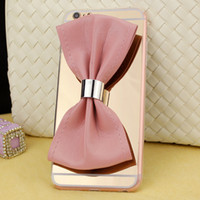 Wholesale Iphone Pouch Korean - For iphone 7 7plus 6s 6 6splus 6plus Korean Wave bowknot Mirror phone case plating TPU Back phone cover