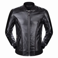 Wholesale Genuine Leather Outwears - 2017 New Arrived Men's Stand Collar Jacket Length Sleeve Leather Hoodies Embroidery Skull Hoody Hooded Mens Zipper Outwear 9018