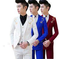 Wholesale Boys Tuxedo Suit Free Shipping - Wholesale- free shipping 2016new Korean Mens casual suit Slim fit boys prom suits 3-piece royal blue mens suit wedding red tuxedo jacket
