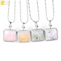 Wholesale clear bottle necklaces - CSJA Rose Quartz Citrine Fluorite Natural Semi-Precious Stone Crystal Clear Glass Square Box Wishing Bottle Pendant Necklace Jewelry E044