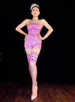 Sexy Sparkly Rhinestones Pink Jumpsuit Birthday Celebrate Outfit Costume Женская певица Bling Bodysuit Performance Dance Wear