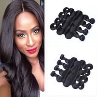Wholesale medium brown remy hair weave online - Brazilian Human Remy Virgin Hair Body Wave Hair Weaves Hair Extensions Natural Color g bundle Double Wefts Bundles