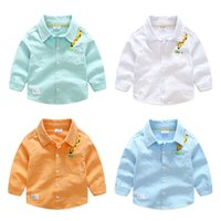 Wholesale Wholesale Kids School Shirts - Boutique Shirts for boy Long sleeve Cartoon Giraffe embroider Kids clothing Cotton linen 2017 Fall Spring Students school boy Tops 2-7years