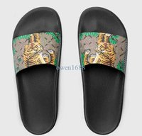 Wholesale Thick Soled Flip Flops - 2017 men's fashion designer slide sandals with Tiger printing leather and thick feetbed rubber sole size euro 38-45