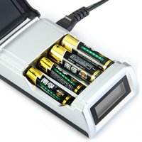 Wholesale Rechargeable Battery Aa Charger - Newest C905W 4 Slots LCD Display Smart Battery Charger for AA   AAA NiCd NiMh Rechargeable Batteries US   EU Plug