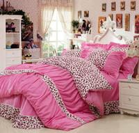 Wholesale Duvet Cover Princess - Pastoral flowers 4pcs cotton king queen full size bedding set bedspread princess girls duvet covers linen princess bedding sets