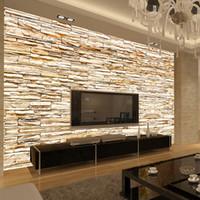 papier peint de la salle d'or achat en gros de-Non-tissé Mode 3D Pierre Briques Papier Peint Mural Pour Salon Canapé Fond Murs Maison Or Papier Peint 3D Home Decor