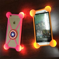 Wholesale Led 3d Iphone Case - 3D Cartoon LED case animal micky light up luminous lighting bumpers silicone frame for iphone 8 plus galaxy s8 halloween christmas new