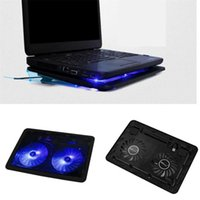 Wholesale Notebook Cooling Pad Price - Wholesale- Factory price USB 2 Fan Port Cooling Cooler Pad for Laptops Notebook With LED Light Mfeb24 Drop Shipping