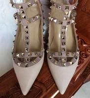 schuhe knöchel flaches freies verschiffen großhandel-2017 heiße verkäufe valen Schuhe Ballerinas geben Verschiffen frei Art und Weise Frauen-Niet beschuht Ebene-echtes Leder-Knöchel-Bügel-Spitze Toe Studded
