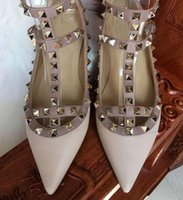 Wholesale 2017 hot sales valen Shoes Ballerinas Fashion Women Rivet Shoes Flats Genuine Leather Ankle Strap Pointed Toe Studded