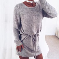 Wholesale Grey Loose Sweater - Wholesale- 2016 fall new arrival Sexy Open Back Loose Long Sweaters solid grey O neck autumn one piece knitwear overalls