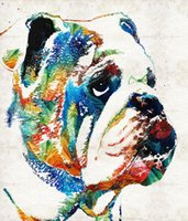 Wholesale pop art wall decoration for sale - Group buy bulldog pop by Sharon Cummings Canvas Print painting arts and canvas wall decoration art Oil Painting on Canvas No Wrap Rolled