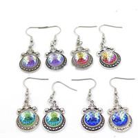 Wholesale antique chandelier earrings - Vintage Moon 12mm Mermaid Scale Earrings Fish Scale Drop Earrings Antique Silver Dangle Earrings Christma Gift